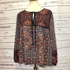 Sanctuary Floral Boho Peasant Blouse Medium